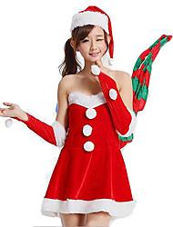 Costumes de Cosplay Fête / Célébration Déguisement Halloween Rouge Couleur Pleine Jupe / Chapeau Noël Féminin Polyester