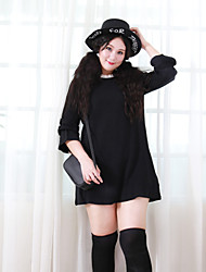 Nininiu  Women's Plus Size / Casual/Daily Simple Loose DressSolid Round Neck Above Knee Long Sleeve Black Rabbit Fur / Acrylic Winter Mid Rise