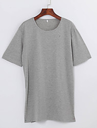 Women's Solid Black / Gray T-shirt,Casual / Simple / Simple Loose Thin Split Asymmetrical Fashion Cotton