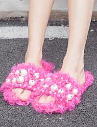 Feminino-Chinelos e flip-flops-Chanel-Rasteiro-Preto / Cinza / Fúcsia-Sintético-Casual