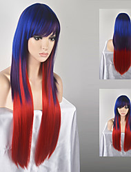Europe and the United States Ms. fashion long straight blue-red mixed Omber high-temperature wire wig