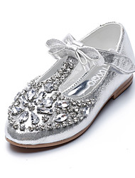 Girl's Flats Fall Others Comfort PU Dress Casual Flat Heel Bowknot Sparkling Glitter Magic Tape Black Blue Silver Others