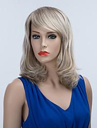 noble mi-longueur capless perruques de cheveux humains onduleux naturel