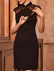 Damen Tunika Kleid-Formal Retro Stickerei Ständer Übers Knie Kurzarm Schwarz Andere Herbst Winter Hohe Hüfthöhe Mikro-elastisch Mittel