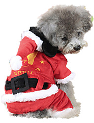 Dog Costume / Clothes/Jumpsuit Red Dog Clothes Winter Solid Cosplay / Christmas