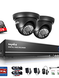 SANNCE 1.0MP 720P 4CH HD 4 in1 TVI H.264 DVR In/Outdoor CCTV Security Camera System Built-in 1TB HDD