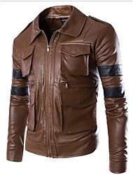 Men's Casual/Daily Simple Leather Jackets,Solid Shirt Collar Long Sleeve Fall Black / Brown Cowhide Medium