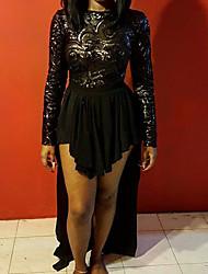 Women's Beach Sexy Bodycon Dress,Solid Round Neck Midi Long Sleeve Black Silk Fall Mid Rise Micro-elastic Thin