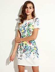 Women's Going out Simple Plus Size / Sheath Dress,Floral Round Neck Above Knee Short Sleeve White Polyester Summer
