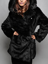 Women's Casual/Daily Simple Fur Coat,Solid Long Sleeve White / Black Faux Fur