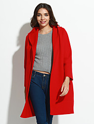 Women's Simple Spring Trench Coat Shawl Lapel Long Sleeve