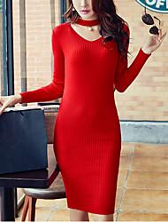 Tricot Robe Femme Soirée / Cocktail / Soirée Sexy,Couleur Pleine Licou Mi-long Manches Longues Rouge / Noir / Marron / Gris Polyester