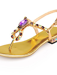 Women's Sandals Summer Comfort Ankle Strap PU Casual Athletic Party & Evening Chunky Heel Crystal Buckle Blue Rose Gold Coffee Walking