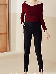 Damen Skinny Jeans Hose-Lässig/Alltäglich Einfach einfarbig Mittlere Hüfthöhe Knopf Baumwolle Micro-elastisch Riemengurte / Herbst