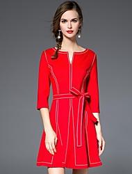Trapèze Robe Femme Décontracté / Quotidien simple,Couleur Pleine Col en V Au dessus du genou Manches ¾ Rouge / Noir Coton / Spandex