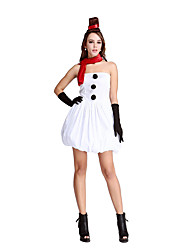 Cosplay Costumes Santa Suits Movie Cosplay White Solid Dress Christmas Female Polyester