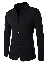 Men's Going out Simple Spring Fall Blazer,Solid Long Sleeve Regular Patchwork