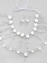Braut-Schmuck-Sets Kristall Imitierte Perlen Quaste Weiß Halsketten Ohrringe Haarschmuck Für Hochzeit 1 Set Hochzeitsgeschenke