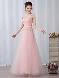 Cocktail Party / Formal Evening Dress A-line One Shoulder Floor-length Lace / Tulle withAppliques / Embroidery / Flower(s) / Ruffles /