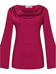 Damen Solide Einfach / Anspruchsvoll Ausgehen / Lässig/Alltäglich T-shirt,V-Ausschnitt Alle Saisons Langarm Rot / Grün Kunstseide Mittel