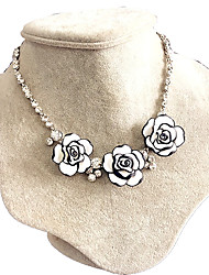 Necklace AAA Cubic Zirconia Collar Necklaces Jewelry Wedding / Party / Daily Flower Flower Style Zircon Women 1pc Gift White