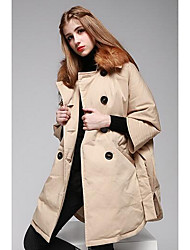 Women's Long Down Coat,Simple Casual/Daily Solid-Cotton / Nylon White Duck Down Long Sleeve Shirt Collar Beige / Brown