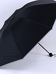Three Folding Umbrella  Black Plastic Shade and UV Protection  Fashion Men and Women Universal Umbrella  Classic Plaid Umbrella Edge (Random Colours)