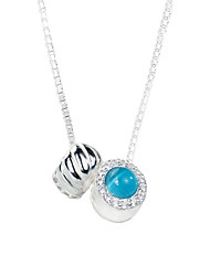 SILVERAGE 925 Sterling Silver Blue Stone AAA Cubic Zirconia Round Pendants Necklaces 18