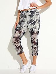 Pantalon Aux femmes Harem simple Coton Micro-élastique