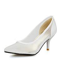 Feminino-Saltos-Sapatos com Bolsa Combinando-Salto Agulha-Preto / Rosa / Branco-Courino-Escritório & Trabalho / Casual