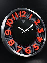 Moderne/Contemporain Famille Horloge murale,Rond Aluminium 12 INCH Intérieur Horloge