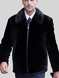 Men's Casual/Daily Simple Fur Coat,Solid Shirt Collar Long Sleeve Winter Black Faux Fur Thick