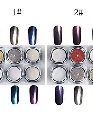 6PCS  Nail art The magic mirror powder The laser The chameleon Fine powder The effect (1#2#)