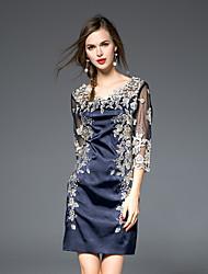 Gaine Robe Femme Décontracté / Quotidien simple,Broderie Col en V Au dessus du genou ½ Manches Bleu Polyester Automne Taille NormaleNon
