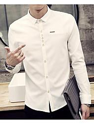 Men's Wedding / Formal / Work Simple Spring / Fall Shirt,Solid Shirt Collar Long Sleeve Red / White / Black Cotton Medium