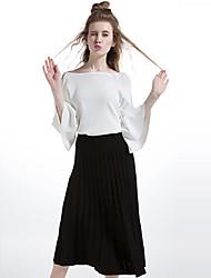 Damen Röcke,Schaukel einfarbigLässig/Alltäglich Einfach Mittlere Hüfthöhe Midi Elastizität Polyester Micro-elastisch Herbst / Winter
