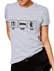 Damen Geometrisch Einfach Ausgehen T-shirt,Rundhalsausschnitt Kurzarm Grau Baumwolle