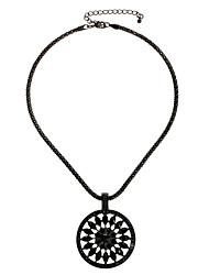 Newest Vintage Black Round Flower Alloy Pendant Necklace for Women NL158859