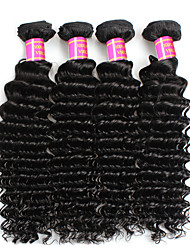 6A Brazilian Deep Wave Virgin Hair 4Bundles Brazilian Deep Curly Virgin Hair Bundles Deep Wave Hair Extensions