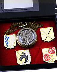 Montre / Badge Inspiré par Attack on Titan Eren Jager Anime Accessoires de Cosplay Badge / Montre Doré Alliage