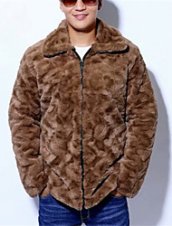 Men's Casual/Daily Simple Fur Coat,Solid Shirt Collar Long Sleeve Winter Black / Brown / Gray Faux Fur Thick