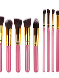 10 Makeup Brush Set Synthetic Hair Portable Professional Wood Face Eye
