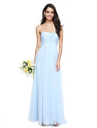 Lanting Bride® Floor-length Chiffon Elegant Bridesmaid Dress - A-line Strapless with Flower(s) / Ruching