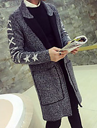 Men's Going out / Party/Cocktail / Holiday Simple Long Cardigan,Geometric Gray Crew Neck Long Sleeve Acrylic Fall / Winter Medium Stretchy