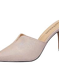Women's Heels Fall / Winter Comfort Cowhide / Glitter Dress / Casual Chunky Heel Sparkling Glitter Pink / Silver Walking