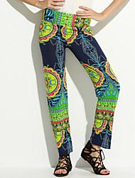 Women's Pocket Pants , Cotton Blend/Elastic/Others Casual/Work Dove