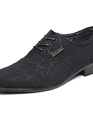 Men's Oxfords Fashion Wedding Shoes Comfort Leather Shoes Party & Evening Low Heel Lace-up Black Walking