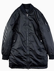 Пальто Активный Обычная Пуховик Мужчины,Однотонный Офис Полиэстер Пух белой утки,Длинный рукав Черный