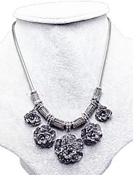Feminino Colarinho Safira Formato de Flor Prata de Lei Floral Prata Jóias Para Casamento Festa Diário 1peça