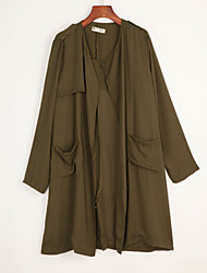 Women's Solid Green Trench Coat , Casual Long Sleeve Others